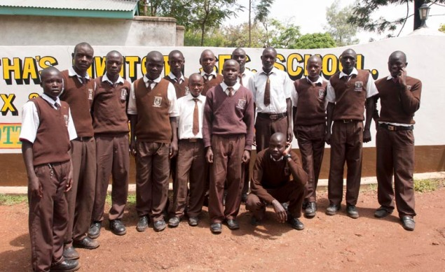 A group of students at Saint Martha's Mwitoti Secondary School who are supported by KEEF scholarships