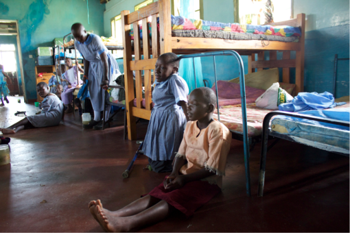 Joyland primary school pupils in the girl's dormitory