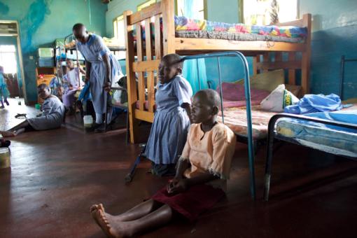 Joyland primary school pupils in the girl's dormitory